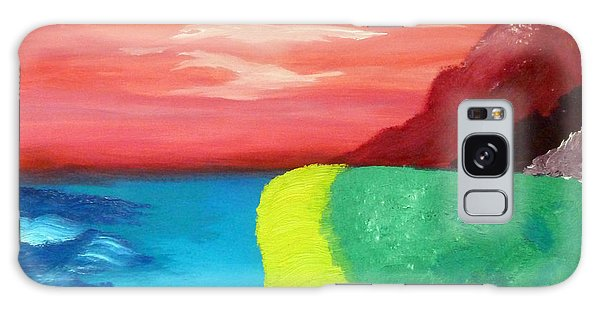 Red Mountain By The Sea Galaxy Case