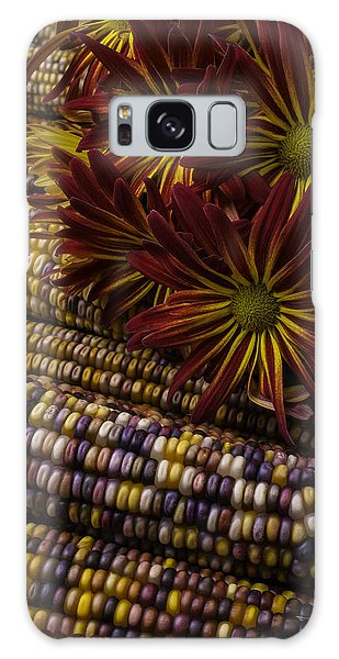 Indian Corn Galaxy Case - Red Mums And Indian Corn by Garry Gay