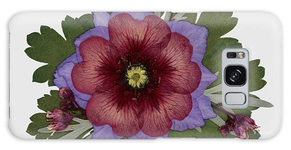 Red Open Faced Potentilla Pressed Flower Arrangement Galaxy Case