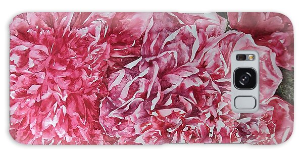 Red Peonies Galaxy Case by Kim Tran