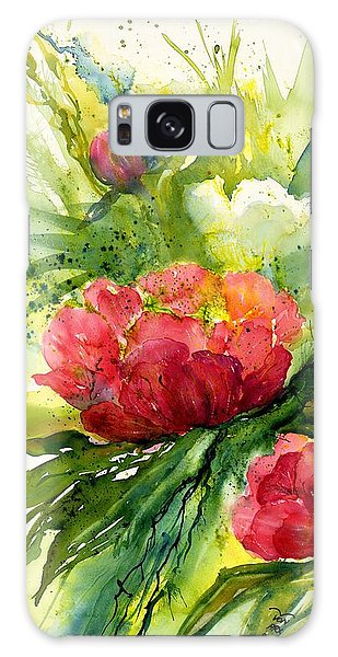 Red And White Peony Flowers Galaxy Case