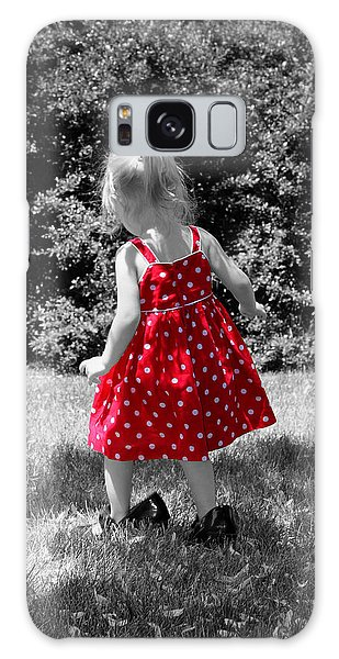 Red Polka Dot Dress And Mommy's Shoes Galaxy Case by Tracie Kaska