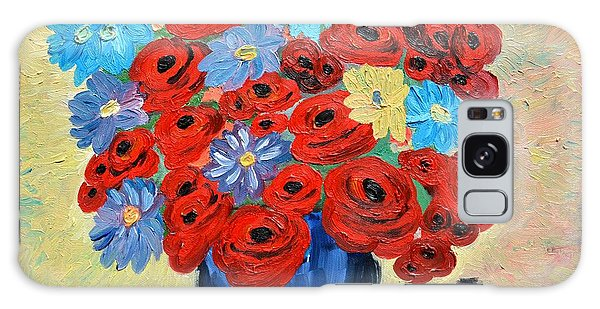 Red Poppies And All Kinds Of Daisies  Galaxy Case