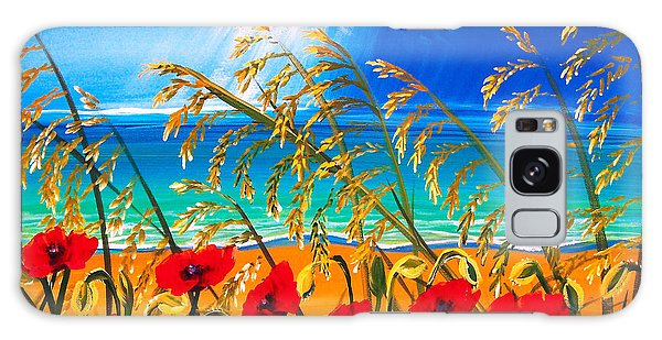 Red Poppies And Sea Oats By The Sea Galaxy Case