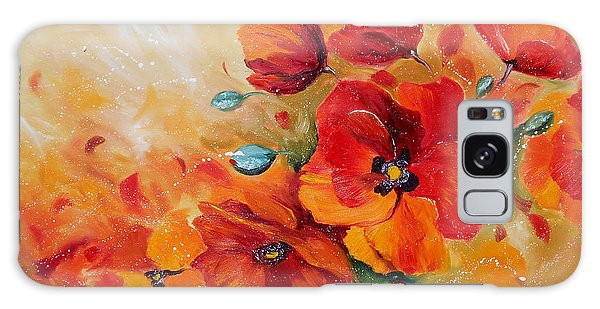 Red Poppies Impressionist Abstract Painting By Artist Ekaterina Chernova Galaxy Case