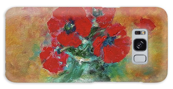 Red Poppies In A Vase Galaxy Case