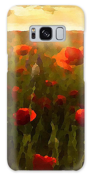 Galaxy Case featuring the digital art Red Poppies In The Sun by Shelli Fitzpatrick