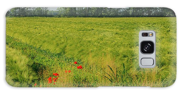 Red Poppies On A Green Wheat Field Galaxy Case