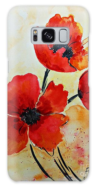 Red Poppies Watercolor Galaxy Case