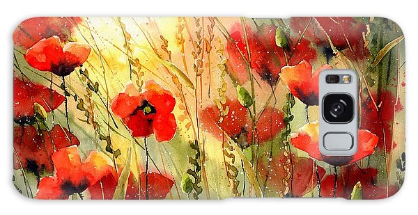 Summertime Galaxy Case - Red Poppies Watercolor by Suzann Sines