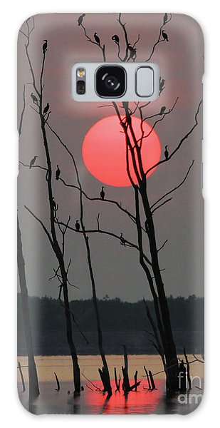 Red Rise Cormorants Galaxy Case by Roger Becker