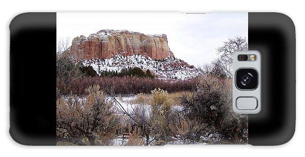 Red Rock Butte In Snow Galaxy Case