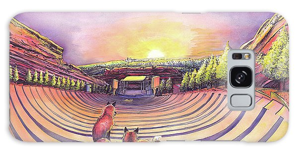 Foxes At Red Rocks Sunrise Galaxy Case