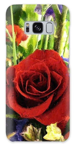 Red Rose And Flowers Galaxy Case