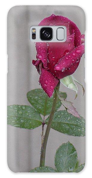 Red Rose In Rain Galaxy Case