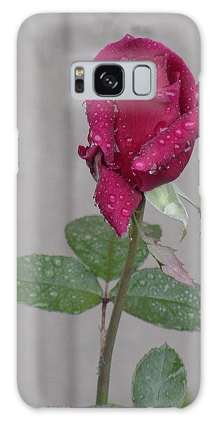 Red Rose In Rain Galaxy Case
