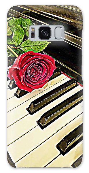 Red Rose On A Piano  Galaxy Case