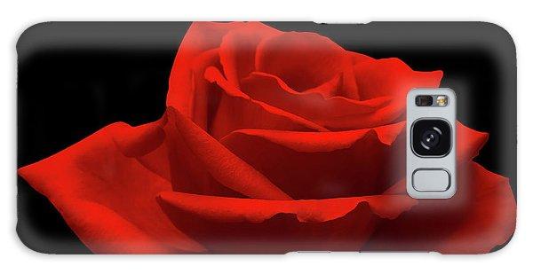 Red Rose On Black Galaxy Case