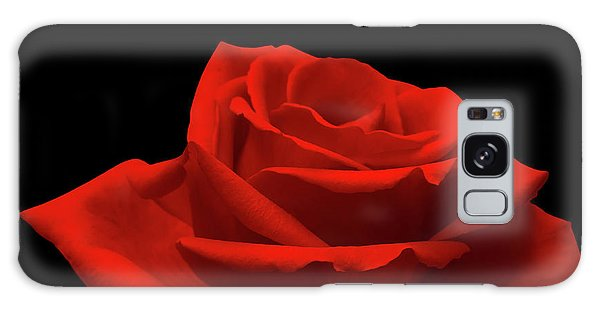 Red Rose On Black Galaxy Case by Wim Lanclus