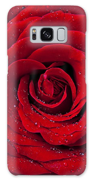 Red Rose With Dew Galaxy Case