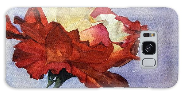Watercolor Of A Red And White Rose On Blue Field Galaxy Case