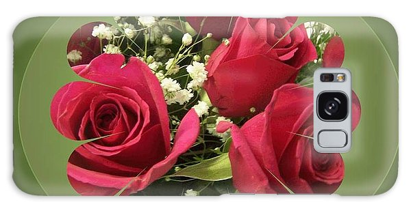 Galaxy Case featuring the digital art Red Roses And Baby's Breath Bouquet by Sonya Nancy Capling-Bacle