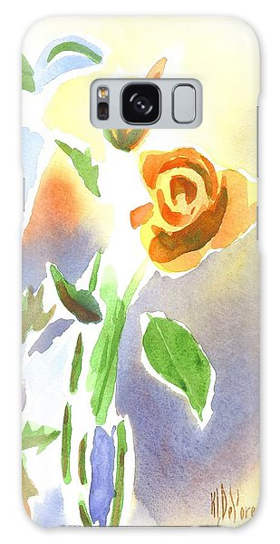 Red Roses With Holly In A Vase Galaxy Case by Kip DeVore