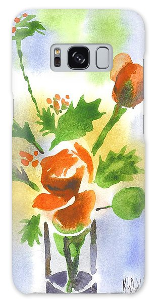 Red Roses With Holly Galaxy Case by Kip DeVore