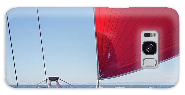 Galaxy Case featuring the photograph Red Sail On A Catamaran by Clare Bambers