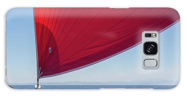 Galaxy Case featuring the photograph Red Sail On A Catamaran 2 by Clare Bambers