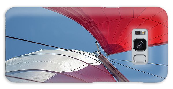 Galaxy Case featuring the photograph Red Sail On A Catamaran 3 by Clare Bambers
