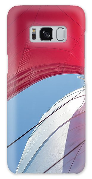 Galaxy Case featuring the photograph Red Sail On A Catamaran 4 by Clare Bambers