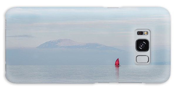 Red Sailboat On Lake Galaxy Case
