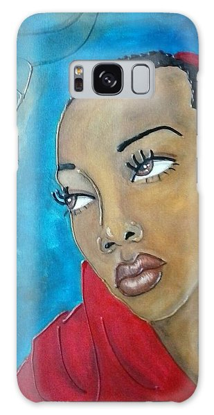 Red Scarf Galaxy Case by Jenny Pickens