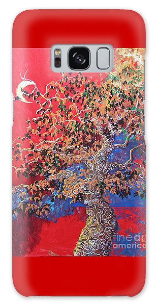 Red Sky And Tree Galaxy Case