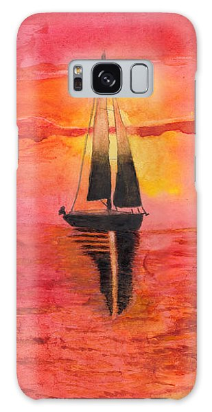 Red Sky At Night Sailors Delight Watercolor Galaxy Case