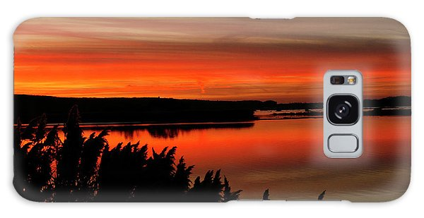 Red Sky On The Illinois River Galaxy Case