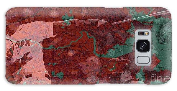 Sport Art Galaxy Case - Red Sox Baseball Player On Boston Harbor Map by Drawspots Illustrations