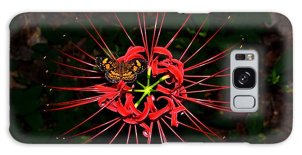 Red Spider Lily And Painted Lady Butterfly 001 Galaxy Case by George Bostian
