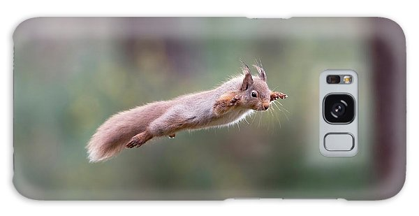 Red Squirrel Leaping Galaxy Case