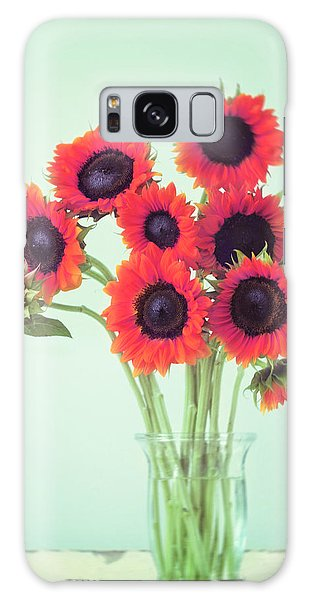 Red Sunflowers Galaxy Case