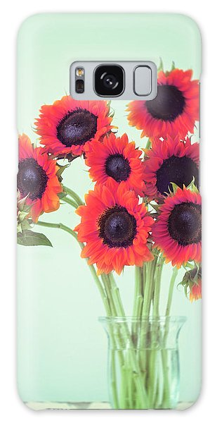 Sunflower Galaxy S8 Case - Red Sunflowers by Amy Tyler
