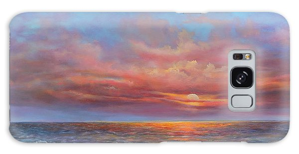 Red Sunset At Sea Galaxy Case by Katalin Luczay