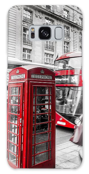 Red Telephone Box With Red Bus In London Galaxy Case