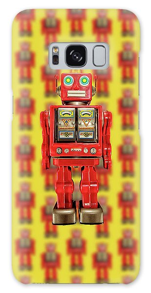 Red Tin Toy Robot Pattern Galaxy Case by YoPedro