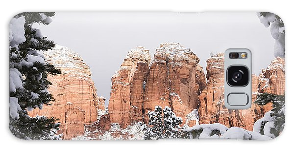Red Towers Under Snow Galaxy Case