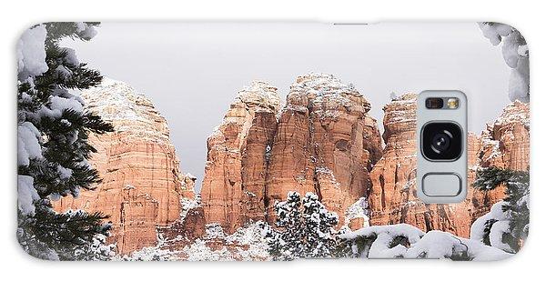 Red Towers Under Snow Galaxy Case by Laura Pratt