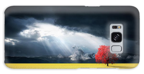Red Tree On Canola Meadow Galaxy Case