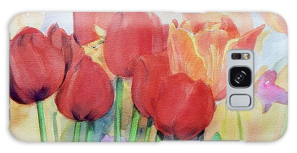 Watercolor Of Blooming Red Tulips In Spring Galaxy Case