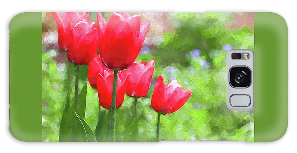 Galaxy Case featuring the photograph Red Tulips In The Spring Garden by Jennie Marie Schell